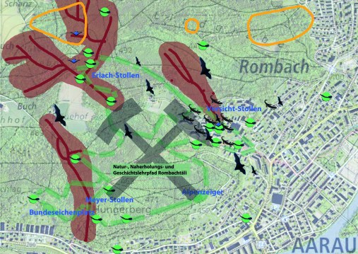 Karte Rombachtäli Aarau Natur und Geschichtslehrpfad
