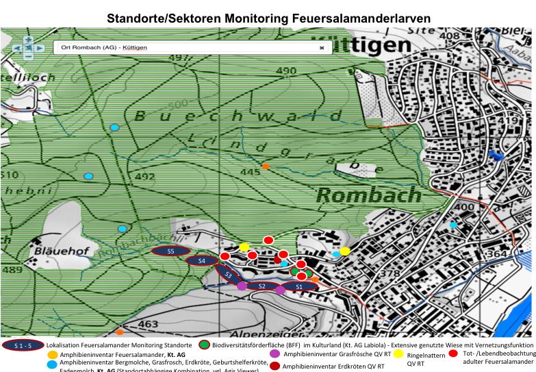 Standorte Feuersalamanderlarvenmonitoring